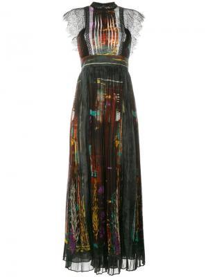 Длинное платье Cuban Forest с узором Valentino. Цвет: чёрный