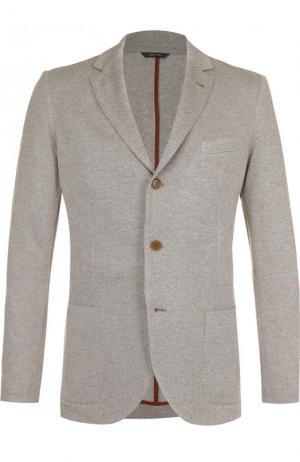 Однобортный пиджак из смеси шелка и кашемира Loro Piana. Цвет: бежевый