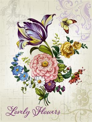 Картина - репродукция Букет Magic Home. Цвет: бежевый,розовый,фиолетовый