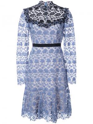 Кружевное платье с длинными рукавами Erdem. Цвет: синий
