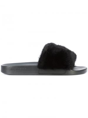 Шлепанцы с норковым мехом Givenchy. Цвет: чёрный