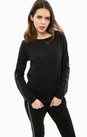 Черный свитшот с декоративной перфорацией Liu Jo Sport. Цвет: черный