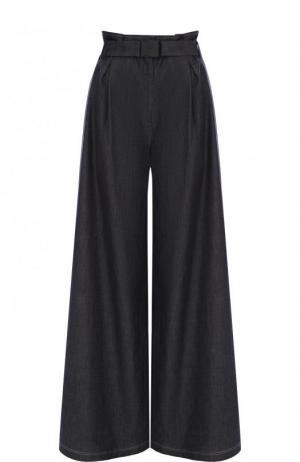 Хлопковые расклешенные брюки с поясом и карманами No. 21. Цвет: темно-серый