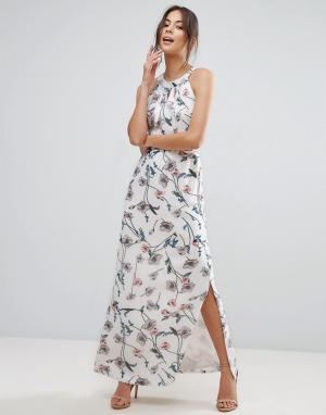 Uttam Boutique Платье макси с цветочным принтом и тонкими складочками на лифе B. Цвет: белый