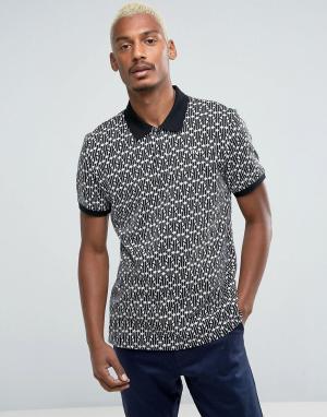 HUF Трикотажная футболка-поло с вышитым логотипом. Цвет: черный
