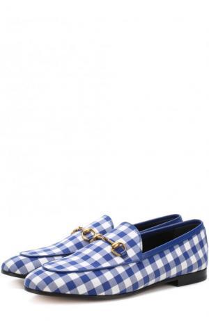 Текстильные лоферы Jordaan с пряжкой-трензелем Gucci. Цвет: голубой