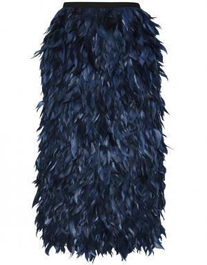 Юбка из шелка и гусиных перьев Erdem. Цвет: сапфировый, индиго