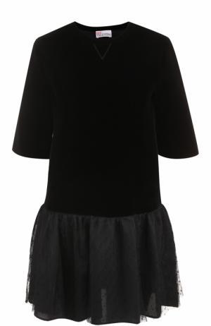 Мини-платье прямого кроя с укороченным рукавом REDVALENTINO. Цвет: черный