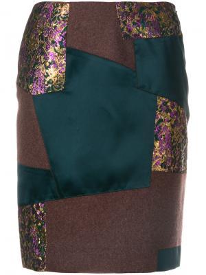Лоскутная юбка-карандаш Kolor. Цвет: розовый и фиолетовый