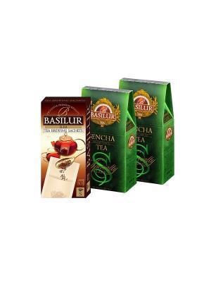 Набор Basilur  Сенча 100г *2 + Фильтр-пакет в Подарок. Цвет: зеленый