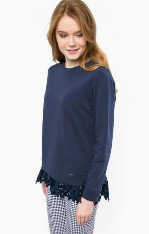 Хлопковый свитшот с кружевной вставкой на спине Liu Jo Jeans. Цвет: синий