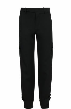 Шерстяные брюки прямого кроя с отделкой J.W. Anderson. Цвет: черный