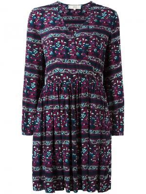 Платье с запахом и полосатым узором Vanessa Bruno Athé. Цвет: синий