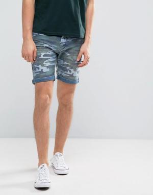 Blend Джинсовые шорты с камуфляжным принтом. Цвет: синий