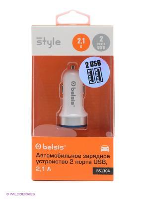 Автомобильное зарядное устройство 2 USB 2,1 A + 1 А ,белый Belsis. Цвет: белый