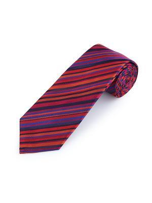 Галстук Assic Stripe Tulip Duchamp. Цвет: черный, коралловый, красный, синий, темно-красный