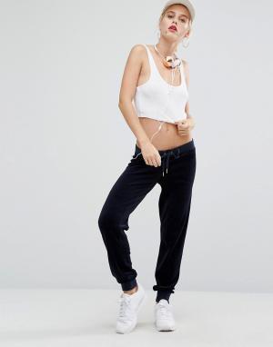 Juicy Couture Велюровые джоггеры Bling. Цвет: темно-синий