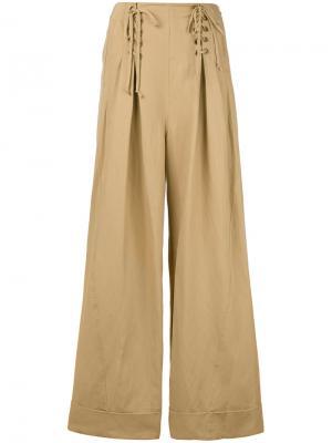 Расклешенные брюки со шнуровкой Ulla Johnson. Цвет: телесный