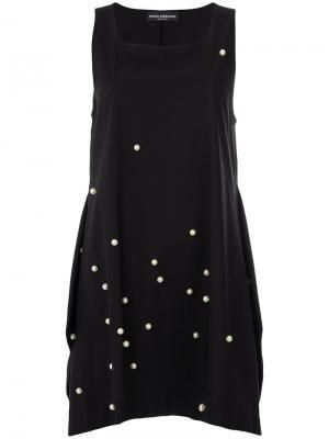 Платье мини с жемчужной отделкой Maria Calderara. Цвет: чёрный