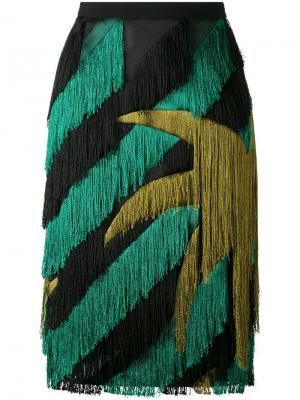 Striped fringed straight skirt Marco De Vincenzo. Цвет: чёрный