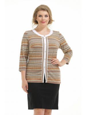 Блузка Four Line. Цвет: темно-коричневый, белый, оранжевый