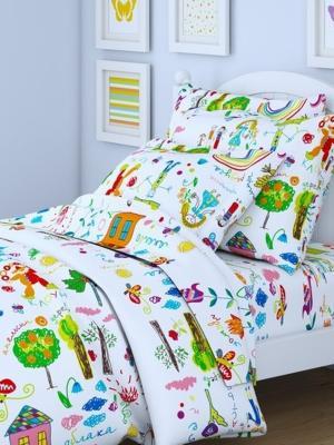 Комплект в кроватку Ясли BGR-49, перкаль, простыня на резинке Letto. Цвет: белый