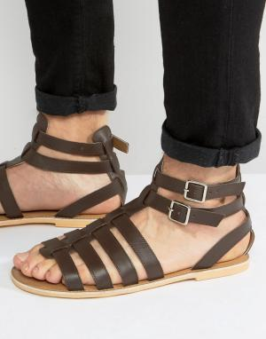 Frank Wright Коричневые кожаные гладиаторские сандалии. Цвет: коричневый