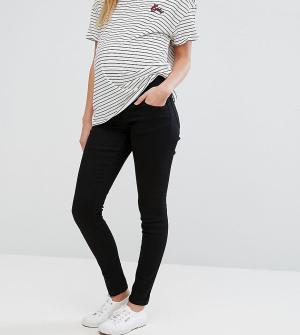 ASOS Maternity Черные джинсы скинни для беременных Ridley. Цвет: черный