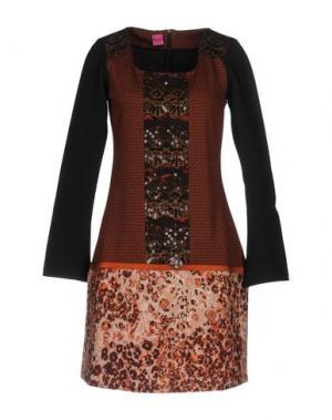 Короткое платье SAVE THE QUEEN. Цвет: коричневый