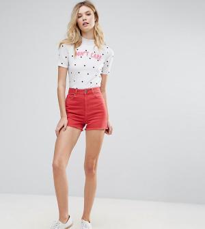 ASOS Tall Красные джинсовые шорты с боковыми разрезами. Цвет: красный