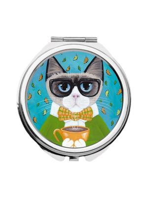 Зеркальце карманное Кот с чашкой Chocopony. Цвет: зеленый, голубой, серый