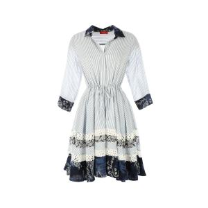 Платье короткое прямое в полоску с рукавами 3/4 RENE DERHY. Цвет: в полоску голубой/белый