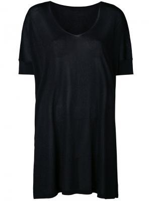 Свободная трикотажная футболка Roberto Collina. Цвет: чёрный