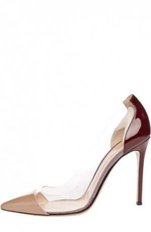 Лаковые туфли Plexi на шпильке Gianvito Rossi. Цвет: темно-бежевый