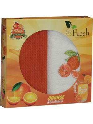 Кухонные полотенца в подарочной коробке ЛЮКС  2 шт., 30х50 см, 100% хлопок Dorothy's Нome. Цвет: светло-оранжевый, бежевый