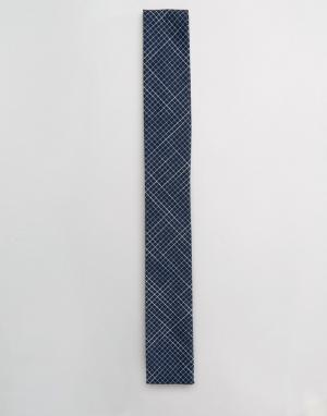 Noak Галстук с квадратными концами и принтом. Цвет: темно-синий