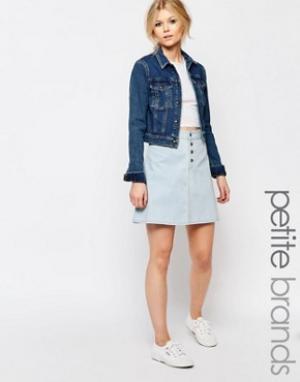 Chorus Petite Короткая расклешенная юбка с пуговицами спереди. Цвет: синий