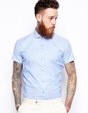 Red Eleven Меланжевая рубашка узкого кроя с короткими рукавами. Цвет: синий