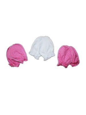 Набор варежки 3 шт. кулирка КиСса. Цвет: розовый, белый