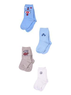 Носки, 4 пары Malerba. Цвет: серый, голубой