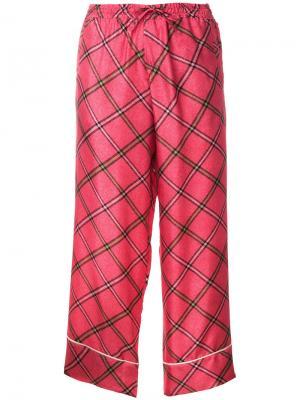 Укороченные брюки с вышивкой Pierre-Louis Mascia. Цвет: розовый и фиолетовый
