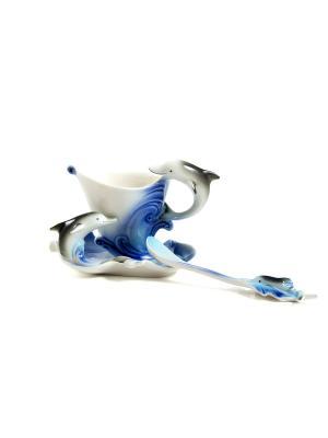 Подарочный чайный набор Волна на 1 персону Русские подарки. Цвет: белый, синий