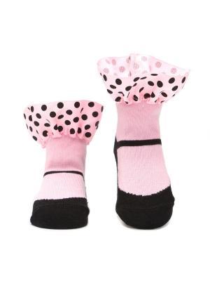 Носочки Босоножки. Арт. S208PFB. Pretty Fashion Baby. Цвет: черный, розовый