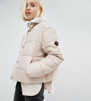 Puffa Дутая оversize-куртка без воротника. Цвет: бежевый