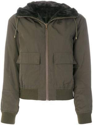 Куртка-бомбер Army Yves Salomon. Цвет: зелёный