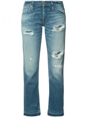 Укороченные джинсы с рваными деталями NSF. Цвет: синий