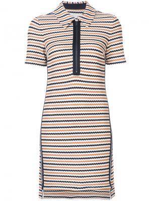 Полосатое платье Veronica Beard. Цвет: синий