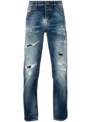 Рваные джинсы Nudie Jeans Co. Цвет: синий