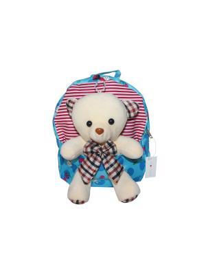 Детский рюкзак с мишкой GOOD MOOD. Цвет: голубой