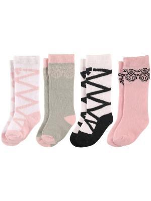 Носки, 4 пары Luvable Friends. Цвет: розовый